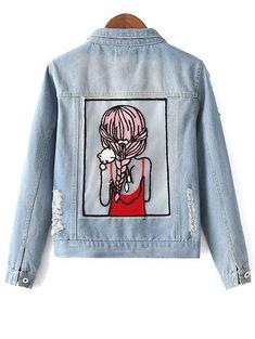 Sequins Embellished Shirt Collar Distressed Denim Jacket