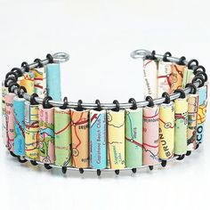 Paper Bead Jewelry Upcycled U.S. Road Atlas Map Cuff Materials: steel wire, vintage atlas, glue, gloss finish, paper beads by Tanith  Rohe via Etsy one-of-a-kind + bespoke
