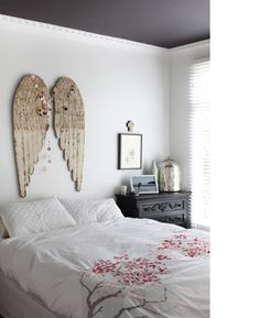 angel wings, cherry blossom bedding The Design Files Wooden Angel Wings, Grey Ceiling, Kids Bedroom Designs, Cupboard Design, The Design Files, White Bedroom, My Room, My Dream Home, Bricolage