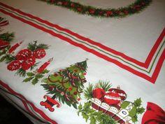 Vintage Christmas Tablecloth, Cotton Tablecloth, Holiday Tablecloth.