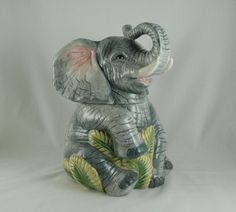 Elephant Cookie Jar, (Mostly) Realistic, Detailed, Holds Lots of Cookies! in Collectibles | eBay