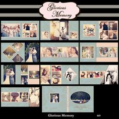 Wedding Album Photoshop Templates For Photographers 12X12 - Sizable to 10X10 - Vintage Wedding Blue - No 469. $34.95, via Etsy.