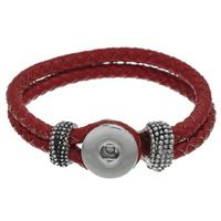Snap Button Bracelet Real Leather Braided Rope Red 22cm