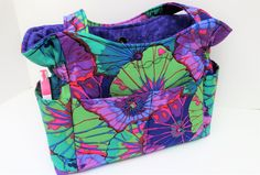 Purple Shoulder Bag Purse, Fabric Purse, Quilted Cotton Purse, Tote Bag, Gift for Mom, Washable Handbag, Summer Bag, Outside Pockets by JustBeautiful161 on Etsy