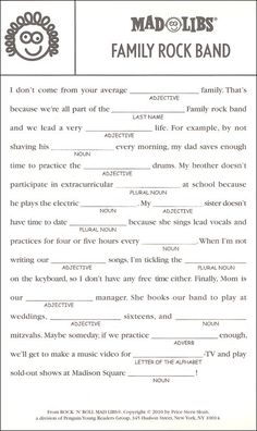 Ideas Christmas Games For Work Mad Libs For 2019 Free Mad Libs, Mad Libs For Adults, Funny Mad Libs, Mad Lips, Music Therapy, Word Games, Music Education, Teaching English, Thing 1