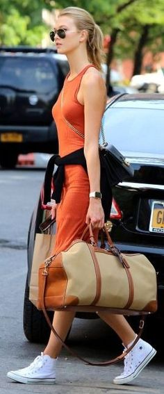 #spring #street #style #inspiration | Karlie Kloss In Orange And White Sporty Street Style