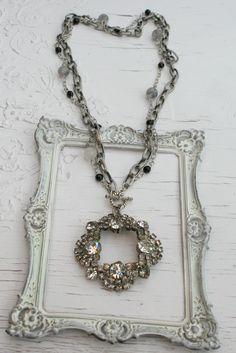 Long Vintage Rhinestone and Gemstone Necklace~