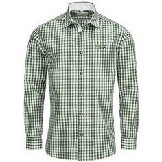 Trachtenhemd Body Fit in Dunkelgrün von Gweih und Silk