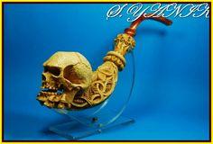 S YANIK Meerschaum Pipe Bone Hand Holding Skull 7   eBay