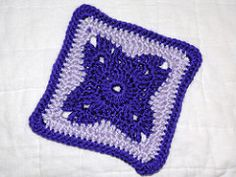 """This is a 6"""" square that would look pretty in a variety of color schemes. It's simple enough to make plenty to do a blanket out of. Yardage has not been calculated yet for the pattern. Guage is not really important, rounds can be added to get the size needed"""
