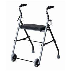 Caminador plegable con dos ruedas delanteras de pequeñas dimensiones diseñado para su uso en interiores y para desplazamientos cortos en superficies sin desnivel.