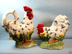 Rooster Hen from The Farm Aminals White Ceramic s P Shakers | eBay