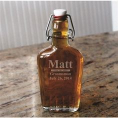 This one is for the lady or gent with a little more flair and appreciation of vintage style. Personalize this Swing Top Glass Flask for your groomsmen or bridesmaids and see the appreciation on their faces. – Gourmet Wedding Gifts