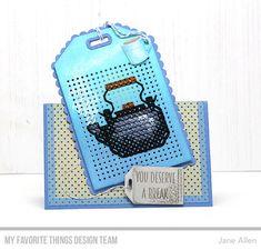 Stamps: Coffee Break Die-namics: Scallop Cross-Stitch Tag, Cross-Stitch Tag, Stitched Tiny Tags, LLD Hot Cocoa Cups Jane Allen #mftstamps