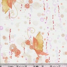 Shop | Category: Animals & Bugs | Product: Hayasaki - Watercolor Butterfly - Peach & Gold - wish it were not lawn...