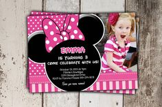 Minnie Mouse Invitations - Pink polkadots and stripes - Birthday Invitations with photo - print yourself JPG