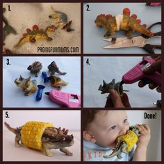 How fun! Use a toy dinosaur (or any other animal) to make a corn on the cob holders!