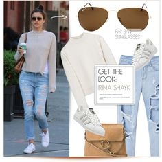 Celebrity Look: Irina Shayk by smartbuyglasses on Polyvore featuring Acne Studios, adidas, Chloé, Ray-Ban, GetTheLook, CelebrityStyle and IrinaShayk