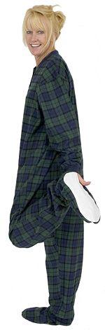 Big Feet Pajamas Adult Navy Plaid Flannel One Piece Footy $44 - SHOP http://www.thepajamacompany.com/store/16709.html?category_id=6982