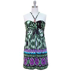 Green & Purple Multi Color Boho Printed Halter « Clothing Impulse
