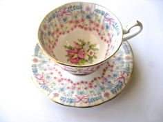 Royal Bridal Gown Fine Bone China Teacup Set, Queen Anne Fine Bone China England, 1949, Teacup and Saucer, Pretty Pink floral and bow design by Vinphemera on Etsy