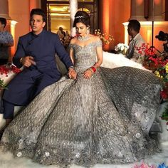 Prince Narula and Yuvika Chaudhary Chaudhary's reception look Wedding Lehnga, Indian Wedding Gowns, Indian Bridal Outfits, Indian Gowns Dresses, Bollywood Wedding, Indian Bridal Fashion, Pakistani Bridal Dresses, Engagement Dress For Bride, Engagement Gowns