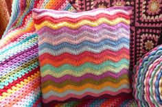 Crochet Ripple cushion made with Stylecraft Special DK