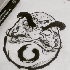 I enjoy the enso circle on the body below the face. Daruma Doll Tattoo, Hannya Tattoo, Demon Tattoo, Real Tattoo, Irezumi Tattoos, Japanese Drawings, Japanese Tattoo Art, Japanese Tattoo Designs, Sketch Tattoo Design
