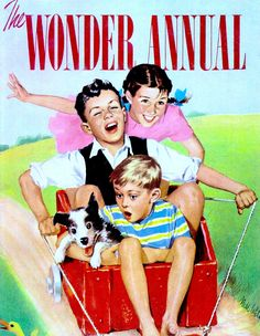 THE WONDER ANNUAL cover, Melbourne Australia, Colorgravure Publications (Herald & Weekly-Times) 1950. From Bottersnikes & other lost things by Juliet O'Conor (2009) (please follow minkshmink on pinterest) #wonderannual #gocart #childrensannual #kidsillustration