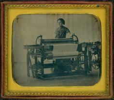 Daguerreotype of a woman standing behind a power loom, 1848-1852.