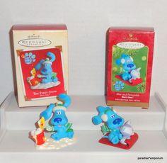 Hallmark Blues Clues Christmas Ornament Set Lot 2001 2002 Periwinkle BOXES #hallmarkornaments #bluesclues