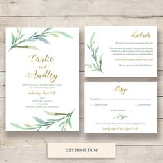 Printable Greenery Wedding invitation set templates to download and print. Invitation, RSVP, Details or Guest enclosure card templates. Edit in Word or Pages.