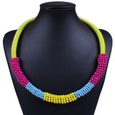 Colorful Beads Charm Necklace Women Jewelry Gift