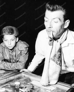 Son Watching Dad Play Woodrail Pinball Machine Vintage 8x10 Reprint Of Old Photo