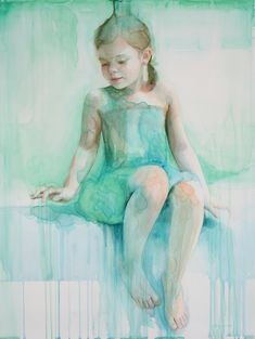 Guardian of dreams (Portrait of Tatum) 40 x 30 inches, watercolor on panel