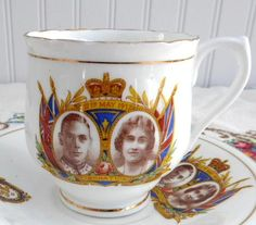 Cup and Saucer Coronation 1937 King George VI Queen Elizabeth English Bone China - Antiques And Teacups - 1