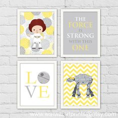 Princess Leia AT-AT Star Wars Nursery Print. by waiwaiartprints