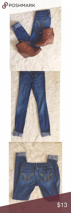 Jeans Are Always A Good Idea Size = 00R, L=29, W=23, blue denim skinny jeans from Hollister. Faded look.  ~ I DO NOT SWAP, SO PLEASE DON'T ASK. YOU WILL BE IGNORED.  ~ I NO LONGER HOLD MY ITEMS, FIRST COME FIRST SERVE.   ~YOUR PURCHASE WILL BE SHIPPED WITHIN 24-48 HOURS AFTER PURCHASED, FROM THAT POINT ON I CANNOT CONTROL HOW LONG IT WILL TAKE FOR THE SHIPPING SERVICE TO GET IT TO YOU. *PLEASE BE PATIENT*  ~I AM MORE THAN HAPPY TO MAKE YOU A BUNDLE. Hollister Pants Skinny