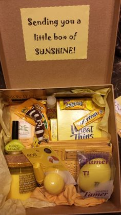 Get well, encouragement, birthday . . . So proud of my best friend gift that I made! A little box of sunshine for @Julie Ann
