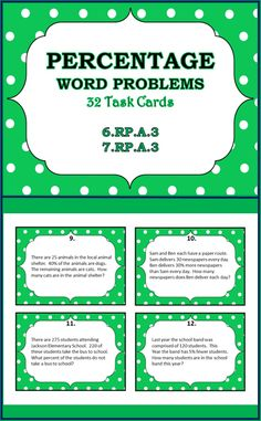 Percentage Word Problems Task Cards (32), Grades 6-7-8
