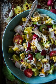 Chicken Corn and Cucumber Salad by heatherchristo #Salad #Chicken #Corn #Cucumber