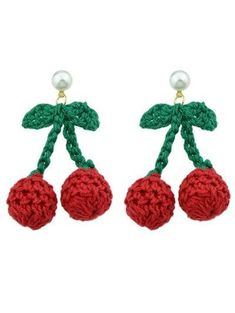 Celebrate summer with these lovely crochet cherry earrings, they are also lightweight and are embellished with a small pearl. Cherry Earrings, Red Earrings, Unique Earrings, Red Jewelry, Cheap Jewelry, Jewellery, Kawaii Gifts, Novelty Gifts, Shape Patterns