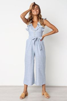 v neckline blue with white stripes button down front to waist ruffle along sleeves invisible back zip side pockets wide leg partially lined material - cotton mo