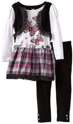 Young Hearts Little Girls' 2 Piece Butterfly 2fer Tunic Legging Set, White, 4. White butterfly screen-printed tunic with black mock shrug and pink plaid bottom. Black legging to match.