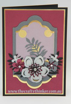 Stampin Up, #thecraftythinker, Botanical Builder framelits, hand made card with no ink