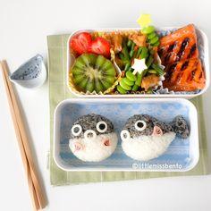 Pufferfish Fugu Bento - Little Miss Bento Kawaii Bento, Cute Bento, Bento Kids, Bento Box Lunch, Cute Food, I Love Food, Food Art Bento, Bento Recipes, Food To Go