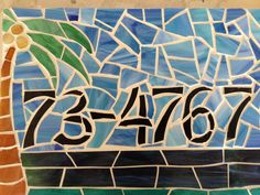 Custom stained glass mosaic address plaque. Palm tree with ocean background, via Etsy. This Mosaic was Pinned By www.mosaicnumbers.com