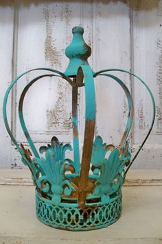 Metal crown aqua distressed rusty home decor planter candle holder French chic by Anita Spero