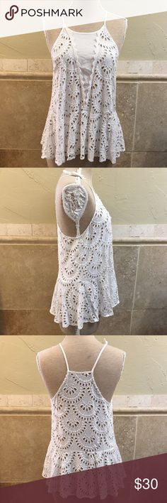"""Intimately FREE PEOPLE White Eyelet Halter Top S Intimately FREE PEOPLE White Eyelet Peplum Halter Top Size Small. Bust 34"""" Waist 38"""" Hip 55"""". Length top of strap to bottom hem 27.5"""" Free People Tops"""