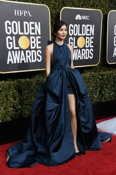 Golden Globes: Crazy Rich Asians star Gemma Chan stuns in a petrol blue Valentino Haute Couture gown Valentino Couture, Haute Couture Dresses, Golden Globe Award, Golden Globes, Snow Globes, Red Carpet Dresses, Blue Dresses, Gala Dresses, Gemma Chan